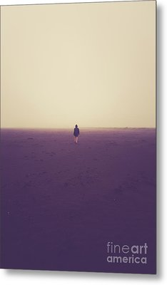 Lonely Hiker Iceland Metal Print