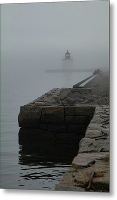 Metal Print featuring the photograph Lonely Salem Lighthouse In Fog by Jeff Folger