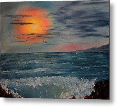 Lonely Sunset Metal Print by Larry Hamilton