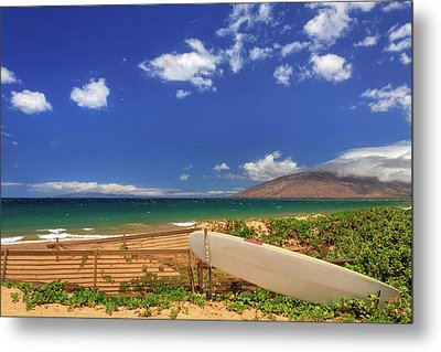 Lonely Surfboard Metal Print by James Eddy