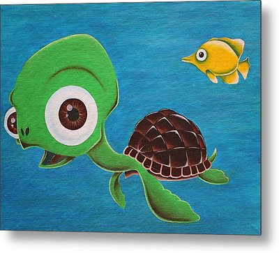 Lonesome Fish And Friendly Turtle Metal Print by Landon Clary