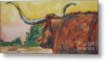 Lonesome Longhorn Metal Print