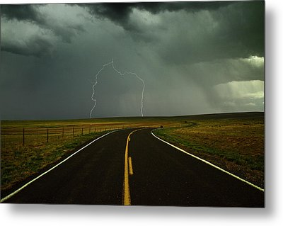Long And Winding Road Against Lighting Strike Metal Print by DaveArnoldPhoto.com