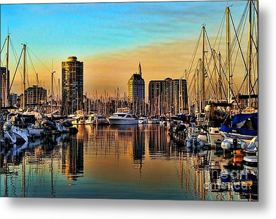 Metal Print featuring the photograph Long Beach Harbor by Mariola Bitner