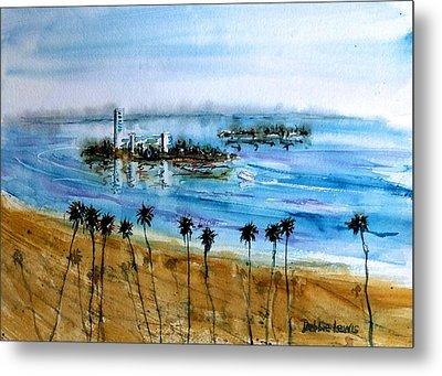 Long Beach Oil Islands Before Sunset Metal Print by Debbie Lewis