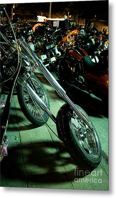 Long Front Fork And Wheel Of Chopper Bike At Night Metal Print by Jason Rosette