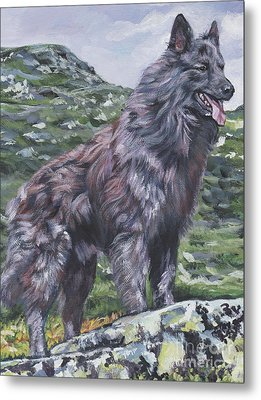 Metal Print featuring the painting Long Hair Dutch Shepherd by Lee Ann Shepard