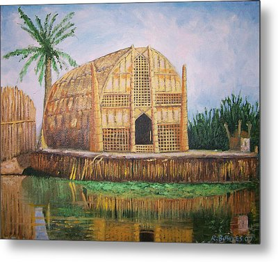 Long Hut Of The Marsh Arabs Metal Print by Ron Bowles