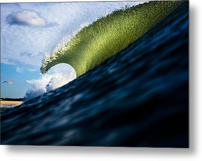 Long Island Blue Sky Green Wave Metal Print by Ryan Moore