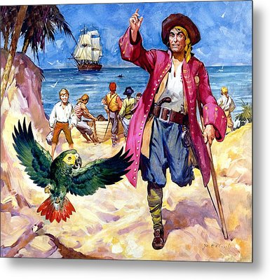 Long John Silver And His Parrot Metal Print by James McConnell