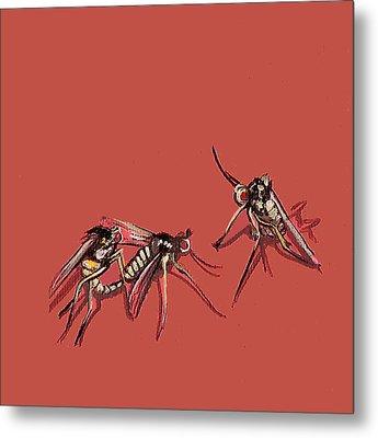 Long-legged Flies Metal Print by Jude Labuszewski