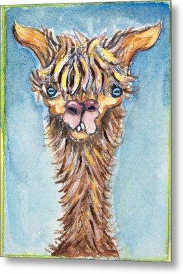 Long Neck Alpaca Metal Print