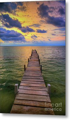 Short Walk On A Long Pier Metal Print by David Zanzinger