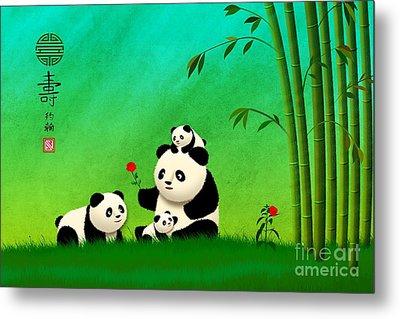 Longevity Panda Family Asian Art Metal Print