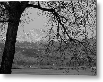Longs Peak And Mt. Meeker The Twin Peaks Black And White Photo I Metal Print