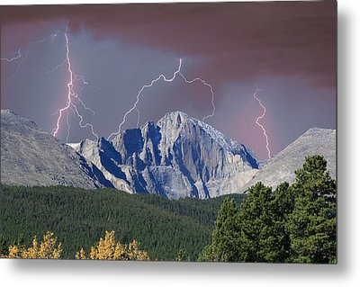 Longs Peak Lightning Storm Fine Art Photography Print Metal Print