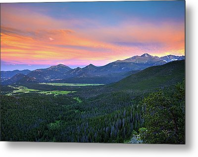Metal Print featuring the photograph Longs Peak Sunset by David Chandler