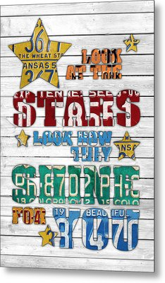 Look At The Stars Coldplay Yellow Inspired Typography Made Using Vintage Recycled License Plates V2 Metal Print by Design Turnpike