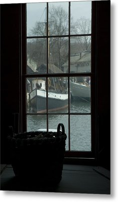 Looking Out Through A Window At Wooden Metal Print by Todd Gipstein