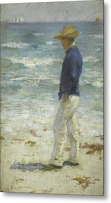 Metal Print featuring the painting Looking Out To Sea by Henry Scott Tuke