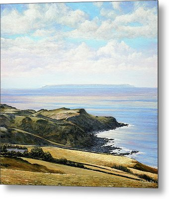 Looking Toward Lundy Island And Lee Bay From Ilfracombe Coast Path Metal Print by Mark Woollacott