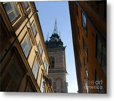 Looking Up From A Stockholm Street Metal Print by Margaret Brooks