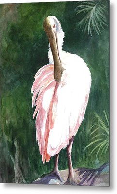 Metal Print featuring the painting Look'n Back - Spoonbill by Roxanne Tobaison