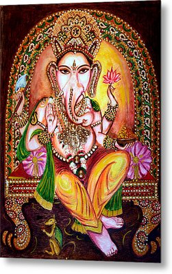 Metal Print featuring the painting Lord Ganesha by Harsh Malik