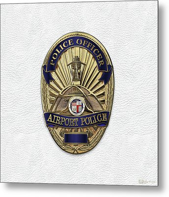 Los Angeles Airport Police Division - L A X P D  Police Officer Badge Over White Leather Metal Print