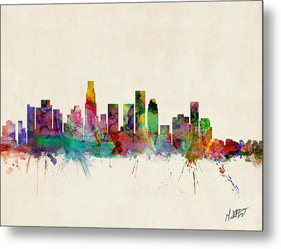 Los Angeles California Skyline Signed Metal Print by Michael Tompsett