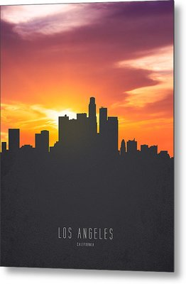 Los Angeles California Sunset Skyline 01 Metal Print