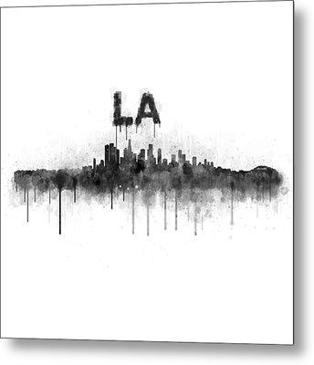 Los Angeles City Skyline Hq V5 Bw Metal Print by HQ Photo