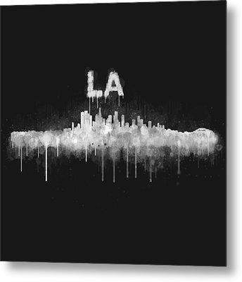 Los Angeles City Skyline Hq V5 Wb Metal Print by HQ Photo
