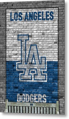 Los Angeles Dodgers Brick Wall Metal Print by Joe Hamilton