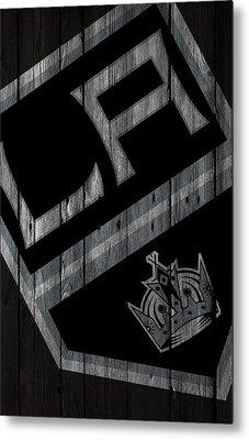Los Angeles Kings Wood Fence Metal Print