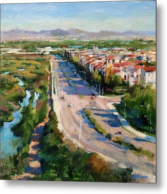 Los Angeles - Playa Vista From South Bluff Trail Road Metal Print by Peter Salwen