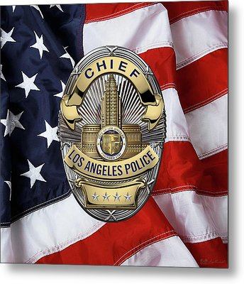 Los Angeles Police Department  -  L A P D  Chief Badge Over American Flag Metal Print by Serge Averbukh