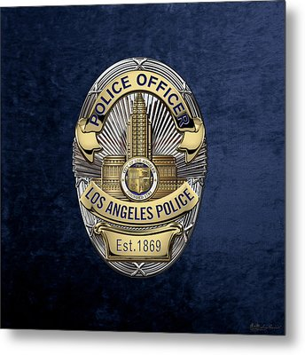 Los Angeles Police Department  -  L A P D  Police Officer Badge Over Blue Velvet Metal Print