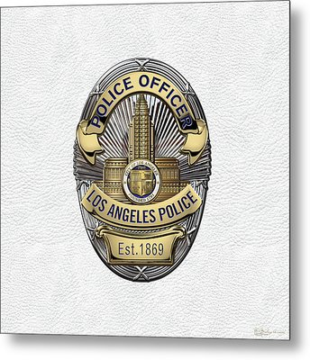 Los Angeles Police Department  -  L A P D  Police Officer Badge Over White Leather Metal Print