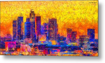 Los Angeles Skyline 122 - Pa Metal Print by Leonardo Digenio