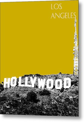 Los Angeles Skyline Hollywood - Gold Metal Print by DB Artist
