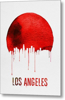 Los Angeles Skyline Red Metal Print by Naxart Studio