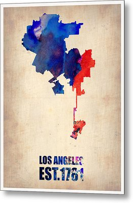 Los Angeles Watercolor Map 1 Metal Print by Naxart Studio
