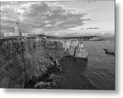 Los Morrillos Lighthouse In Black And White Metal Print