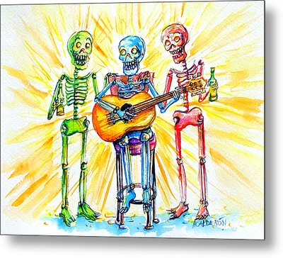 Metal Print featuring the painting Los Tres Cantantes by Heather Calderon