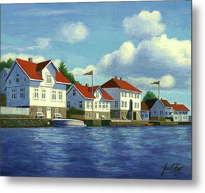 Loshavn Village Norway Metal Print by Janet King