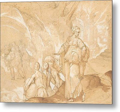 Lot's Wife Looking Back At The Destruction Of Sodom And Gomorrah  Metal Print