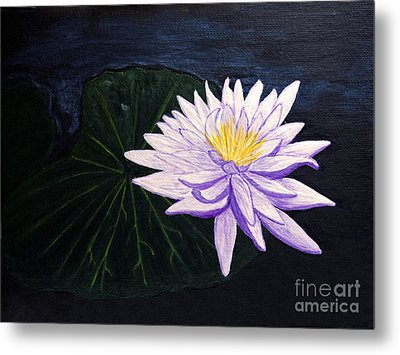 Metal Print featuring the painting Lotus Blossom At Night by Patricia Griffin Brett