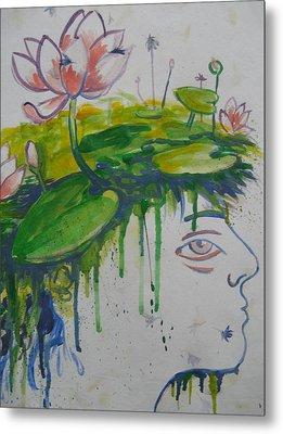 Lotus Head Metal Print by Tilly Strauss