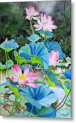 Lotus Pond 2 Metal Print by Vishwajyoti Mohrhoff
